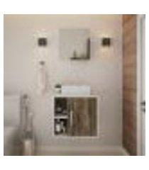conjunto para banheiro gabinete com cuba q32 e espelheira soft 500 branco com carvalho dark