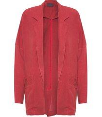 blazer feminino maxi linho - vermelho