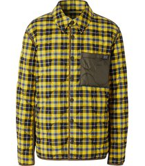 burberry quilted checked shirt jacket - yellow