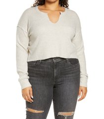 plus size women's bp. crop waffle knit pullover, size 1x - beige