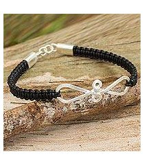 leather and sterling silver braided bracelet, 'black infinity swirl' (thailand)