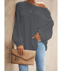 blusa de cuello redondo con diseño hueco gris yoins