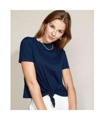 camiseta de algodão básica com nó manga curta decote redondo azul marinho