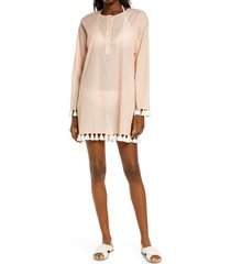 women's tory burch stripe beach tunic cover-up, size x-small - pink