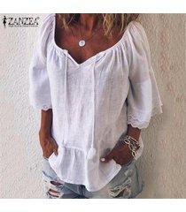 zanzea blusa de playa de retazos de encaje para mujer camisas de algodón holgadas ocasionales tops camisas -blanco