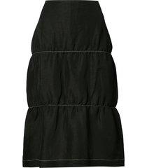 wales bonner contrast-stitching tiered midi skirt - black