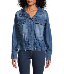 indigo saints women's drawstring-waist denim jacket - medium wash - size xl