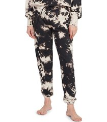 kensie women's splotch tie-dyed french terry vintage sweatpants - white black - size l