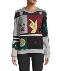 valentino women's counting patchwork sweatshirt - grigio mel - size xl