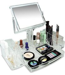 acrylic cosmetic makeup display storage organizer case with double sided mirror