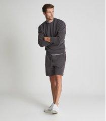 reiss alistar - oversized garment dye sweatshirt in washed black, mens, size xxl