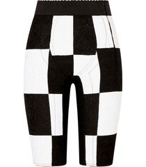 dolce & gabbana patterned two-tone shorts - black