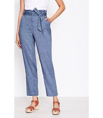 loft petite paperbag pull on pants in chambray