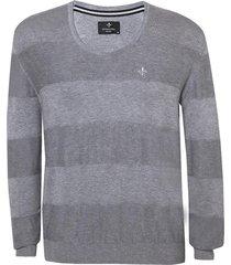 blusa dudalina tricot manga longa jacquard mesclado masculina (azul medio, xgg)