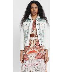 denim jacket with sequins - white - 46