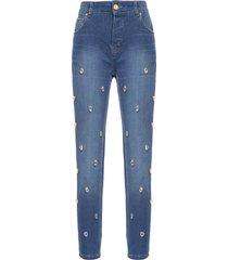 calça feminina boy ripped bordada - azul
