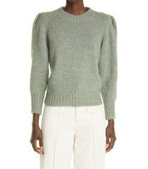 women's isabel marant emma puff sleeve alpaca blend sweater, size 12 us - blue/green