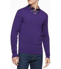 suéter merino cuello v morado calvin klein