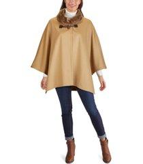 jones new york faux-fur-collar cape