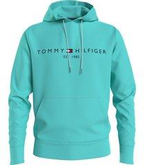 tommy hilfiger logo hoodie aqua