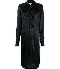 bottega veneta ruched midi shirt dress - black