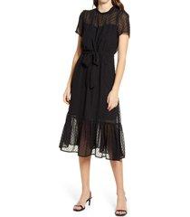 women's gibsonlook belted swiss dot midi dress, size small - black