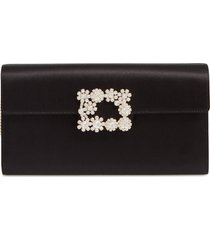 roger vivier flower buckle satin clutch - black