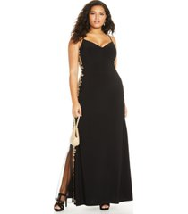 b darlin trendy plus size rhinestone applique gown
