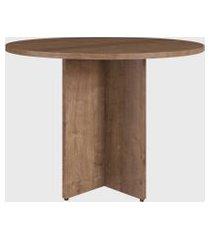 mesa de reuniáo redonda p/ escritório 100cm ative vermont artesano marrom