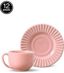 conjunto 12pçs xícaras de chá 160ml porto brasil plissé rosa