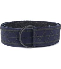 marco de vincenzo embroidered logo belt - blue