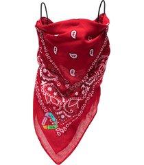 natasha zinko bandana print face mask - red