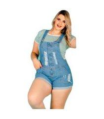 jardineira macacão curto jeans plus size claro barra feita alça regulável azul