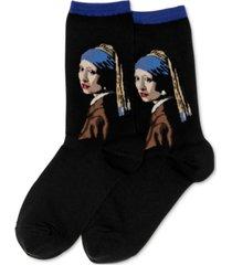 hot sox women's vermeers girl with a pearl earring crew socks
