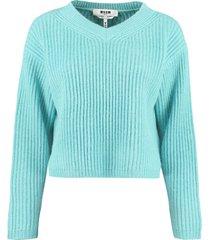 msgm cropped rib-knit sweater
