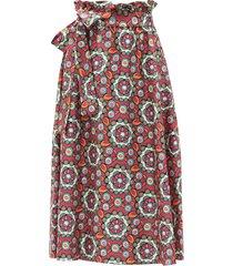 sardegna kaleidoscope fuxia-print silk midi skirt