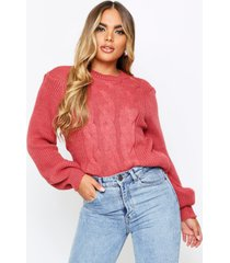 cable knit cropped balloon sleeve sweater, blush