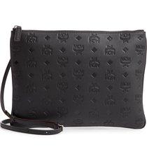 mcm klara monogram calfskin leather crossbody pouch -
