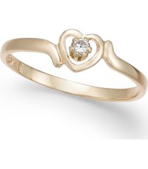 children's diamond accent heart ring in 14k gold