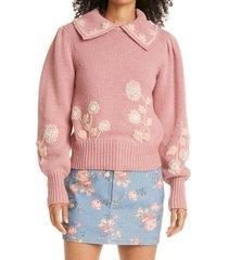 loveshackfancy floral applique cotton sweater, size large in rose blush at nordstrom