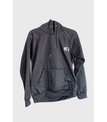 buzo-hoodie logo bordado hombre negro-blanco kuva - elefante