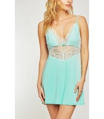 icollection elegant modal knit chemise nightgown with vintage like scalloped lace overlay
