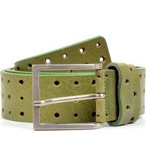 cinturon cuero perforado verde mailea