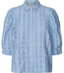 geruite blouse bono  blauw
