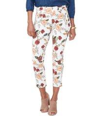 women's nydj sheri print ankle skinny jeans, size 8 - red