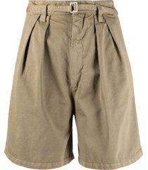 haikure khaki high-waisted shorts