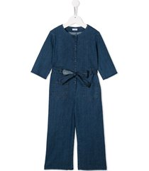 il gufo belted denim jumpsuit - blue