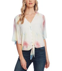 vince camuto women's bell sleeve tie front printed blouse