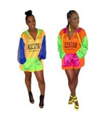 carta quente impresso multicoloured painéis mulheres casuais curto vestido de moda com zíper bolso manga longa verão rash guard casaco com capuz tops