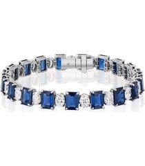 emerald cut sapphire and oval diamond bracelet